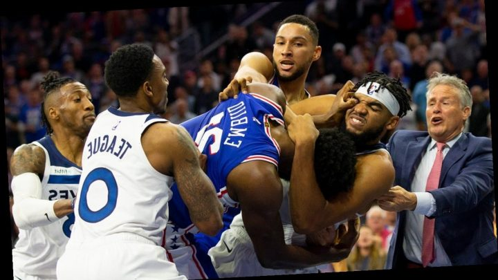 76ers' Joel Embiid ejected after brawl with Timberwolves' Karl-Anthony Towns: 'I OWN YOU'