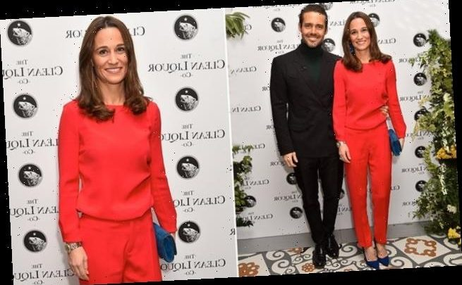 Pippa Middleton looks effortlessly chic in red cigarette trousers