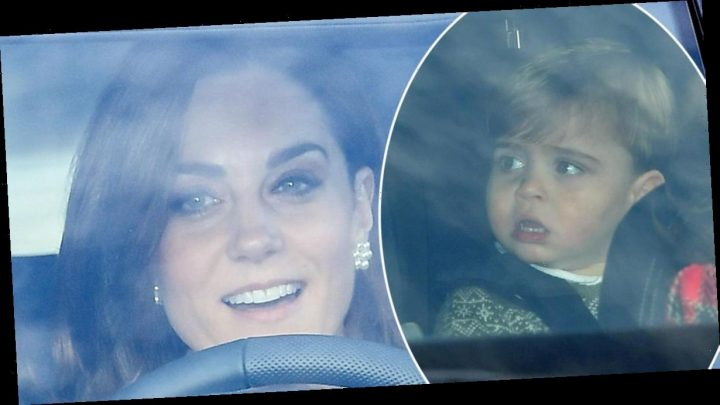 Kate Middleton and Prince William drive adorable Prince Louis, George and Princess Charlotte to Christmas lunch with the Queen