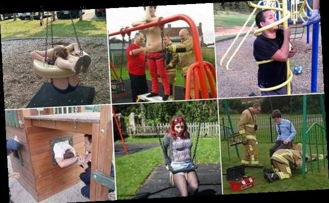 Hilarious snaps of adults who were cut out of playground equipment