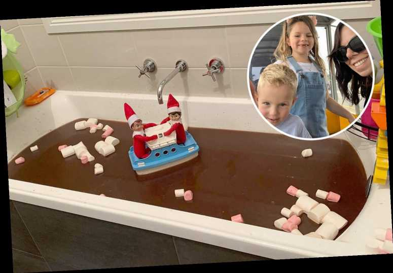 Mum fills entire bath with hot chocolate and marshmallows for epic Elf On The shelf prank