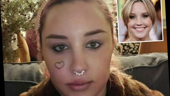 Troubled Amanda Bynes shows off new FACE tattoo of a heart after court battle – The Sun
