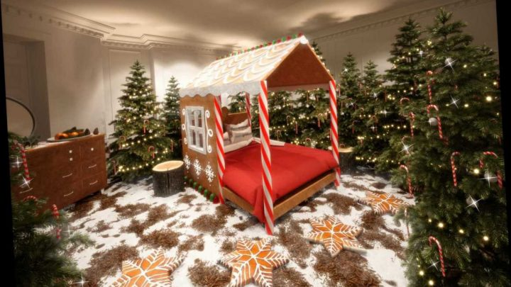 You can stay at a Candy Cane House this Christmas where nearly everything is edible – including the wreaths and baubles