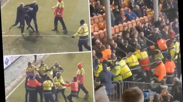 Watch shocking scenes as rival Blackpool and Fleetwood fans fight on the pitch in the League One clash – The Sun
