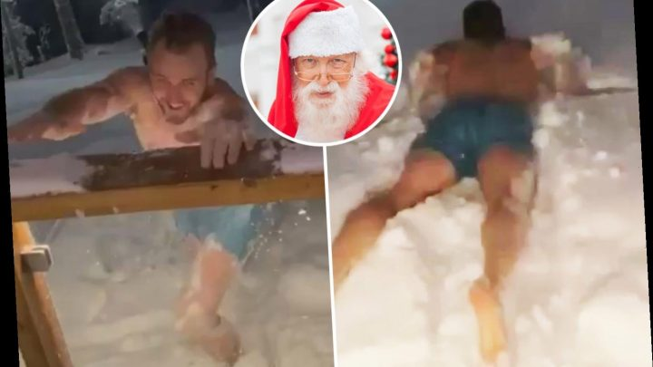 Watch Spurs star Harry Kane dive face first into a snow drift wearing only his shorts on trip to Santa's home in Finland – The Sun