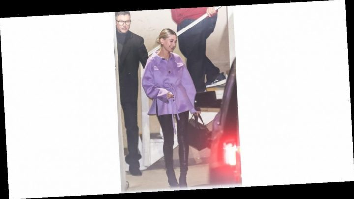 Hailey Baldwin Is the Definition of Effortlessly Cool in This Belted Lavender Jacket