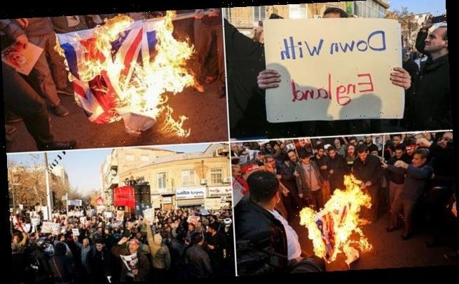 Iranian demonstrators burn Union flag and chant 'Death to Britain'