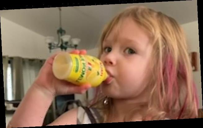 Girl swigs LEMON JUICE – but turns air blue once she realizes mistake