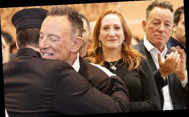 Bruce Springsteen and Patti Scialfa beam as son becomes firefighter