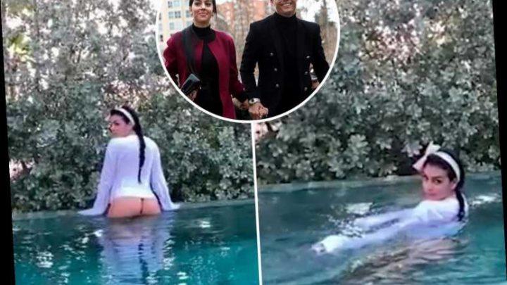 Cristiano Ronaldo's sexy girlfriend Georgina Rodriguez flashes her bum in bizarre slow motion pool video – The Sun