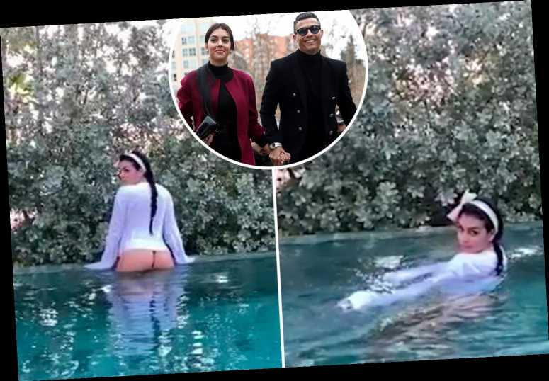 Cristiano Ronaldo S Sexy Girlfriend Georgina Rodriguez Flashes Her Bum In Bizarre Slow Motion Pool Video The Sun The Projects World