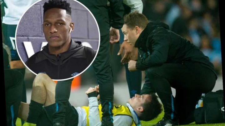 Everton midfielder Bernard hurt in warm-up and OUT of Man City game – after being injured by own team-mate Yerry Mina – The Sun