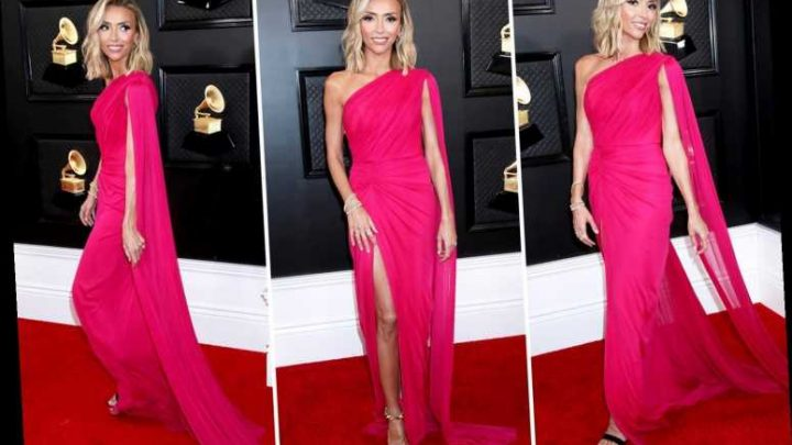 E! Host Giuliana Rancic bares shoulders in a revealing pink dress on the Grammys red carpet – The Sun