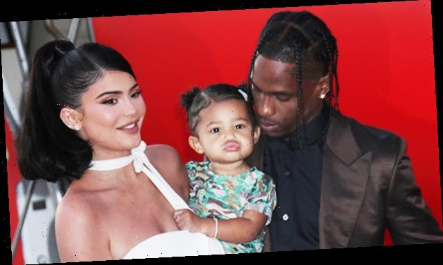 Kylie Jenner & Travis Scott Reunite At Launch Of Stormi-Inspired Cosmetics Collection — See Pic