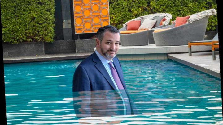 Ted Cruz, outspoken border wall advocate, vacations in Mexico, swims with shirt on