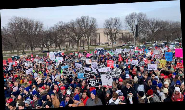 March for Life draws thousands as Trump becomes first president to attend