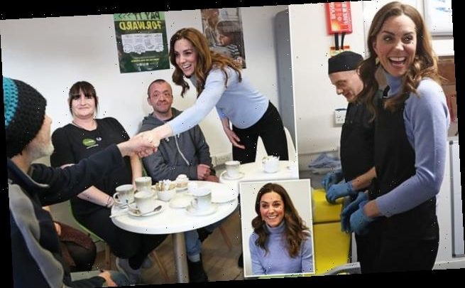 Kate Middleton prepares food for locals in a cafe in Aberdeen