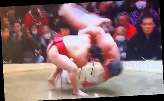 Sumo champion with 130lb and 9½ inch advantage takes on small wrestler