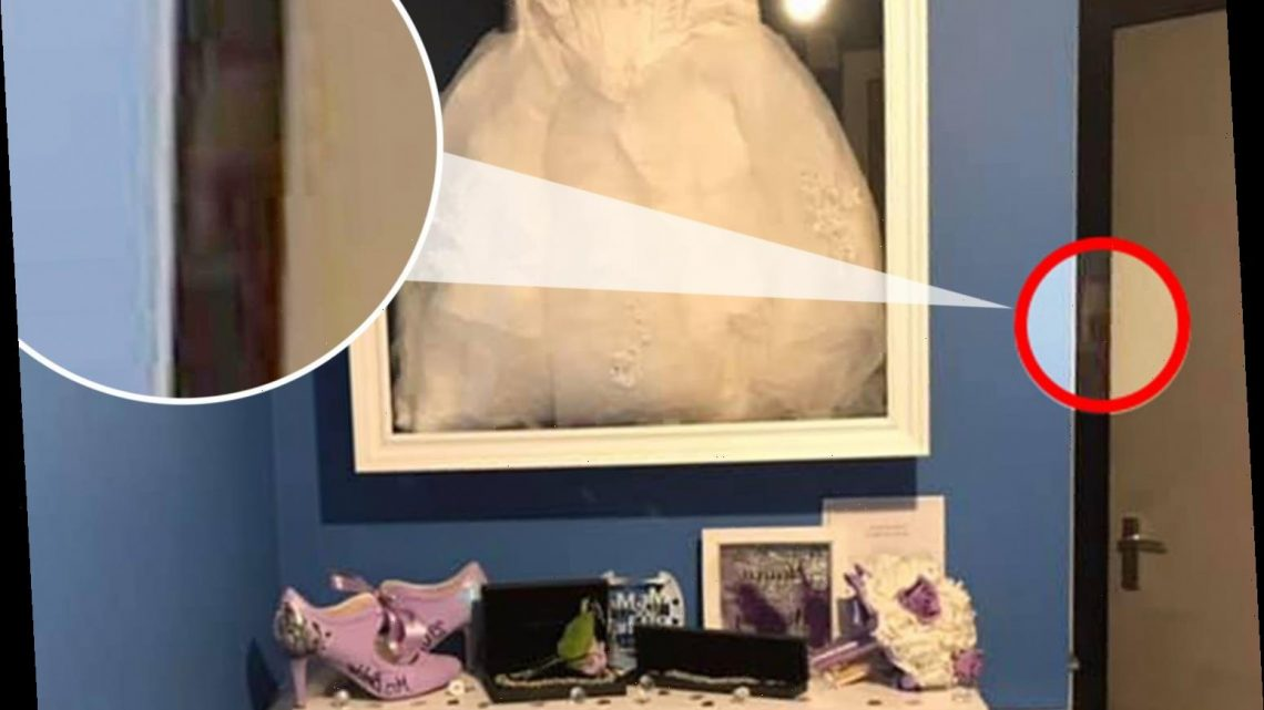 Mums proudly shows off her wedding dress storage – but can you see the 'ghost child' lurking in the background?