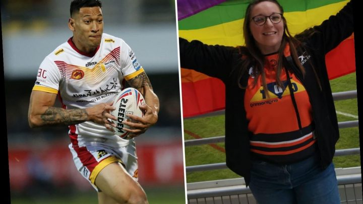 Protester told to remove rainbow flag during Israel Folau's debut for Catalan Dragons – The Sun