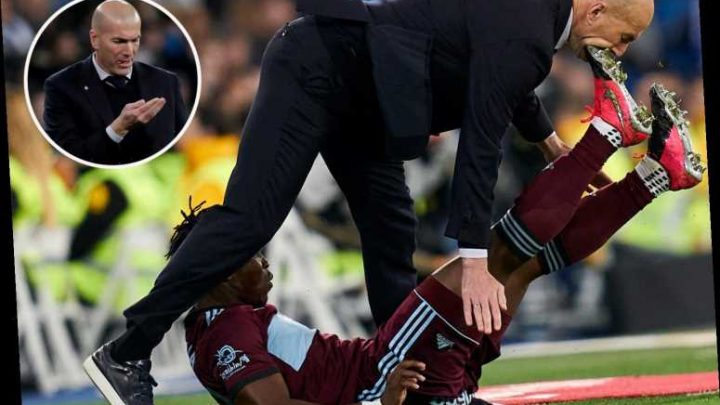 Zinedine Zidane left injured after being kicked in mouth in freak accident during Real Madrid's draw with Celta Vigo – The Sun