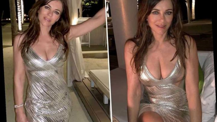 Elizabeth Hurley, 54, dazzles in plunging metallic dress on holiday
