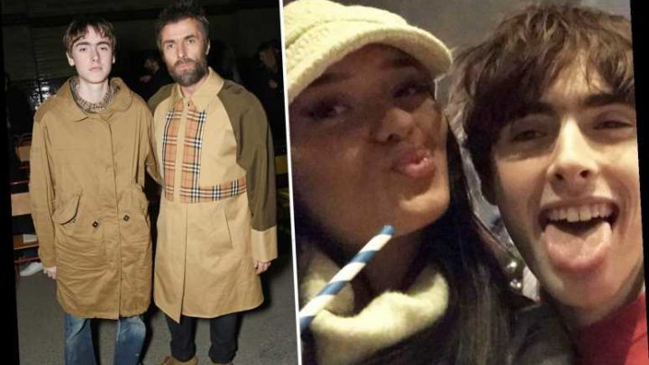 Liam Gallagher's youngest son Gene is loved up with his stunning brunette 'wife' – The Sun