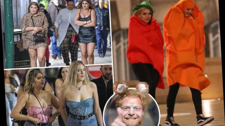 Brave boozers don ponchos and carrot costumes to tackle Storm Jorge for wild Saturday night out on the town – The Sun
