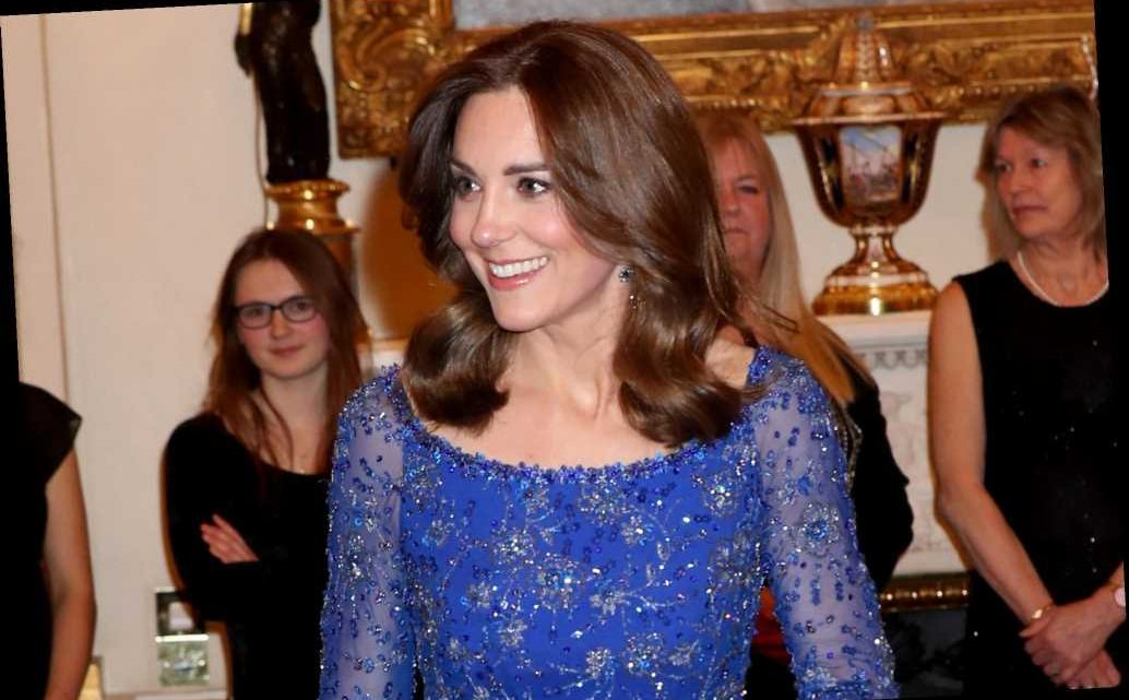 Kate Middleton glitters in blue Jenny Packham dress at Buckingham Palace