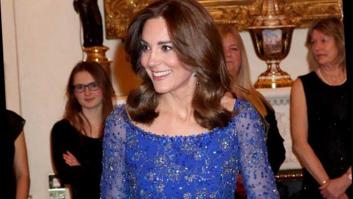 Kate Middleton glitters in blue Jenny Packham dress at Buckingham Palace