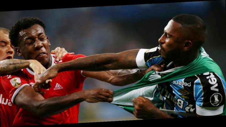 8 players were shown red cards after a Brazilian soccer match erupted in a violent brawl that involved kicking, punching, and MMA style holds