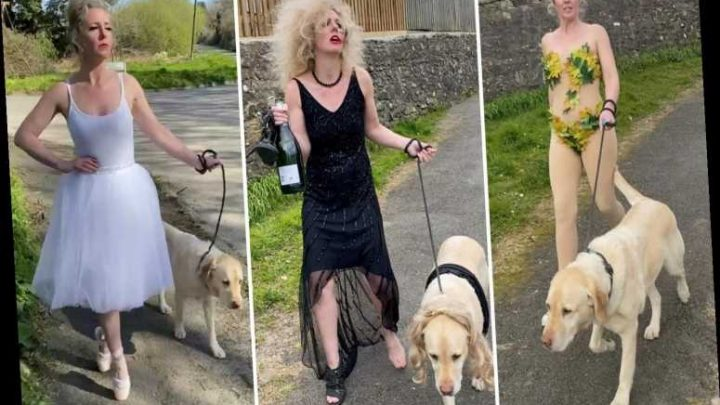 Dancer dons hilarious fancy dress costumes for her daily dog walks in an effort to cheer up her neighbours – The Sun