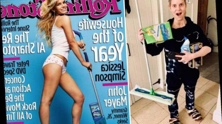 Jessica Simpson recreates 2003 Rolling Stone Housewife of the Year cover as she goes makeup free to clean house