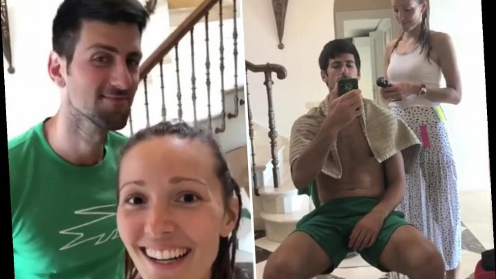 Novak Djokovic gets lockdown haircut from wife Jelena at home.. and she does an ace job on tennis star – The Sun