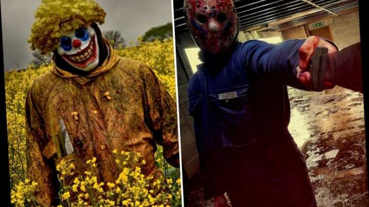 Killer clowns and blood-soaked barb wire mask captured in gruesome gallery of terrifying Walking Dead-style scenes – The Sun