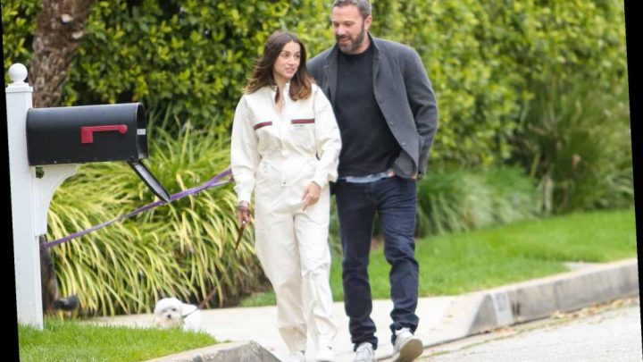 Ana de Armas wears $2,600 Gucci tracksuit while walking dog with Ben Affleck