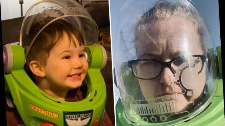 Mum wears Buzz Lightyear helmet to shops after running out of face masks to buy only food her autistic son will eat