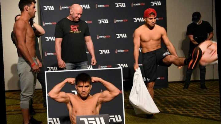 UFC star Cejudo brings cushions with faces of fallen rivals to pre-fight press conference ahead of Saturday fight – The Sun