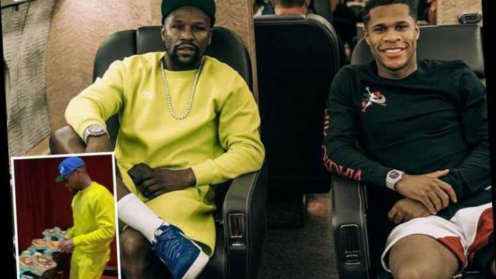 Floyd Mayweather shows off incredible world title belt collection as boxing legend jumps on private jet with Haney – The Sun