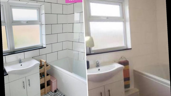 DIY fanatic gives her boring beige bathroom a modern monochrome makeover and it only cost £43