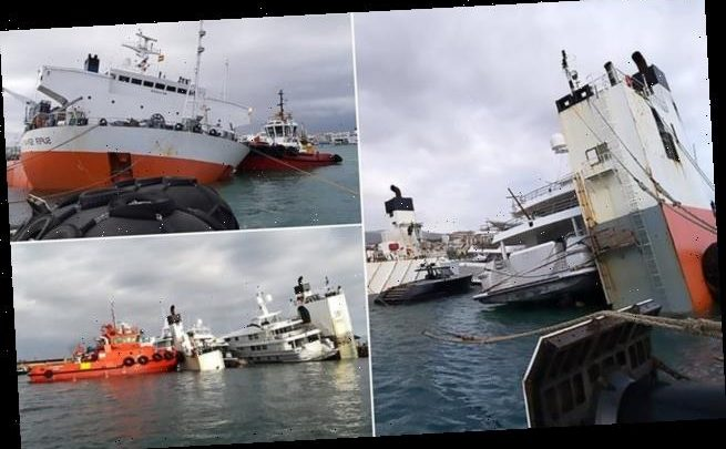 Ship delivering yachts worth millions of pounds overturns in Majorica
