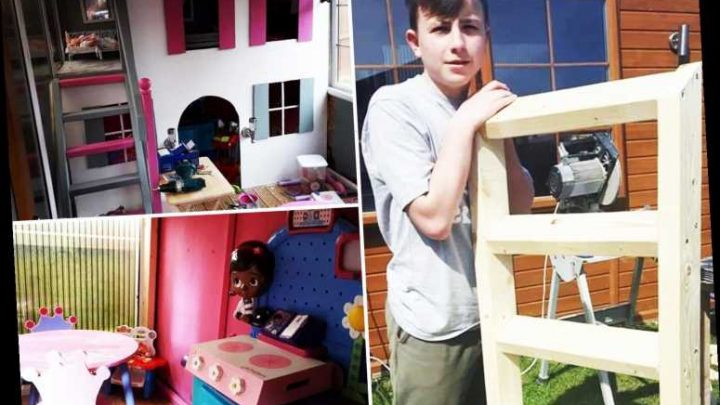 Dad gets son, 14, to build his sister a playhouse to get him off the Playstation –& it's so good he's offered jobs in Oz