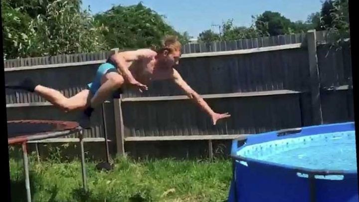 Embarrassing moment lad tries to jump from trampoline into swimming pool…but fails spectacularly