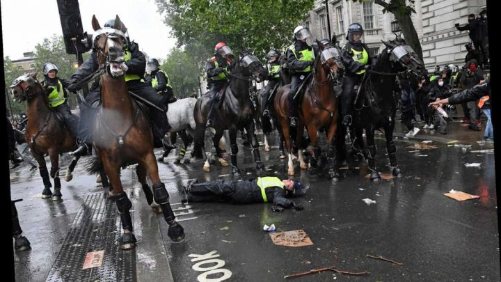 UK cop thrown from horse during violent Black Lives Matter protest in London