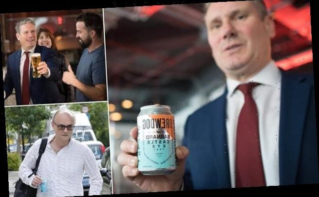 Keir Starmer poses with a can of Brewdog's Barnard Castle Eye Test ale