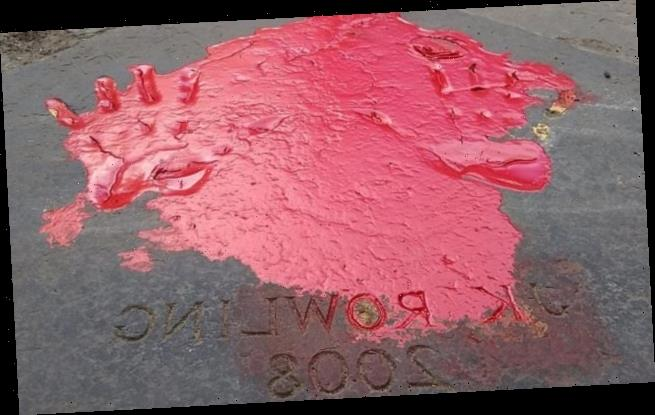 JK Rowling's handprints smeared with red paint amid 'transphobic' row