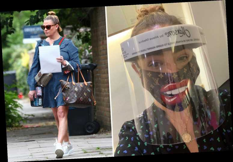 Lisa Armstrong returns to work in Louis Vuitton face mask and giant PPE visor