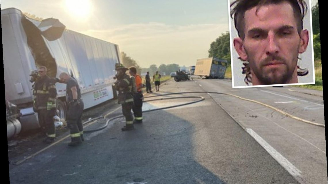Four kids – ages 6, 8, 13, 15 – killed when 'high-on-drugs' semi driver collides with car in fiery Indiana highway crash – The Sun
