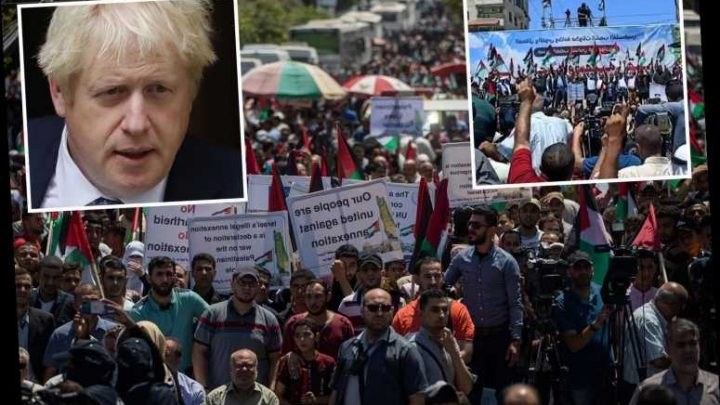 Protests over Israel's Trump-backed plans to annex West Bank as Boris Johnson condemns move