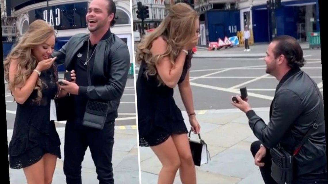 Absolutely Ascot's Samson Lee Smith and Chloe Bowler engaged after he gets down on one knee in Piccadilly Circus